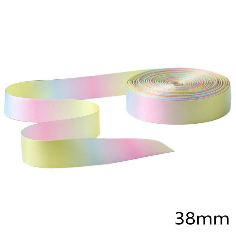 50 Yard Light Rainbow Gradient Double Sided Satin Ribbon for DIY Hair Bow Making XX9D