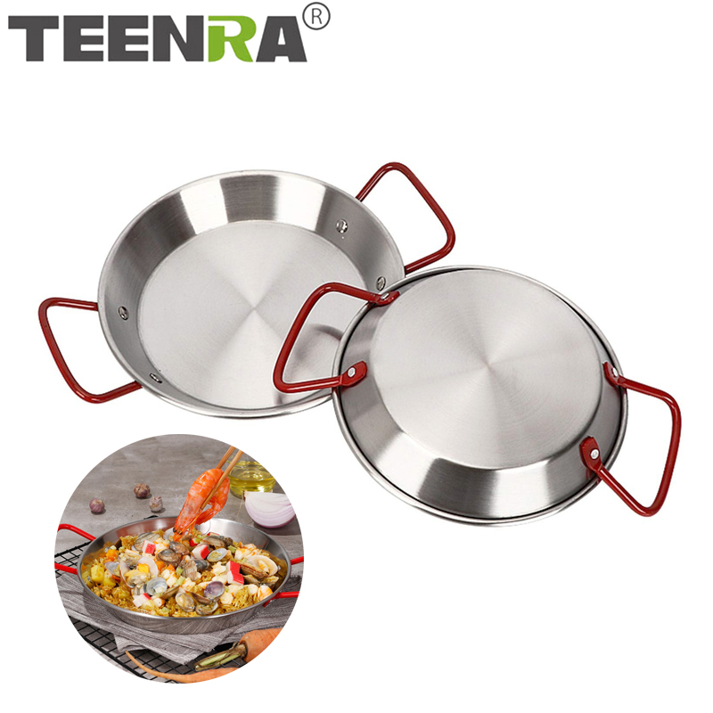TEENRA Stainless Steel Paella Pan Spanish Seafood Frying Pot Non-stick Frying Pot Kitchen Fried Chicken Fruit Plate Cooking Tool