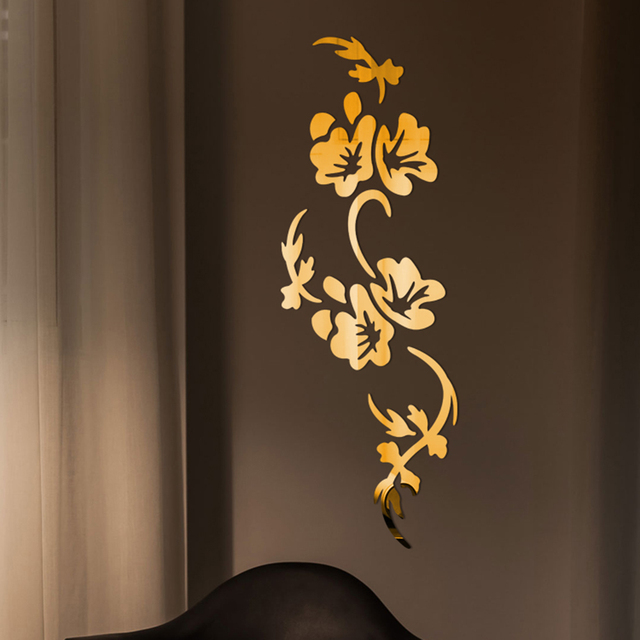 3D Flowers Design Acrylic Mirror Wall Sticker Bedroom Living Room Porch Decorative Wallpaper Decal Home Office Bar Decoration 1