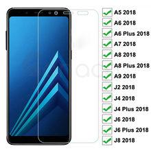 Protector de pantalla de vidrio templado para móvil, película de seguridad 9H para Samsung Galaxy A6, A8, J4, J6 Plus 2018, J2, J8, A5, A7, A9 2018
