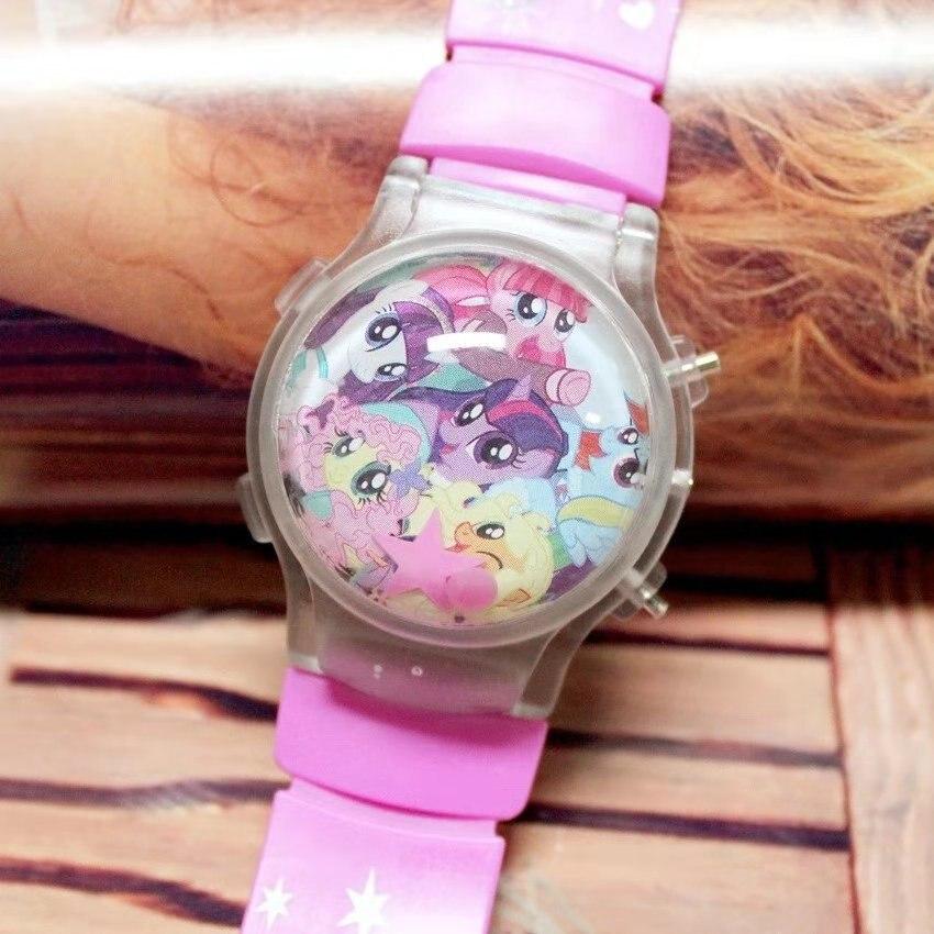 2018 Pony Cartoon Silicone Baby Girl Watch Water Ball Calendar Flash Lamp LED Light Electronic Watch