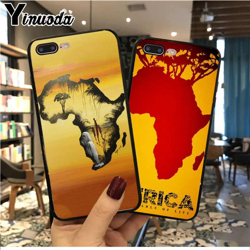 Yinuoda Afrika Kaart Geografie Zachte Siliconen TPU Telefoon Case Cover Shell voor Apple iPhone 8 7 6 6S Plus X XS MAX 5 5S SE XR