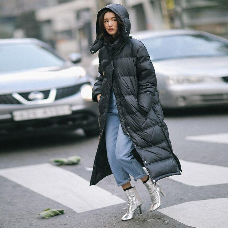 Winter Duck   Down   Jacket Parka 90%   Down     Coat   Women X-Long   Coat   Hooded Parka Warm Clothe Large Size winter Jacket Women Waterproof