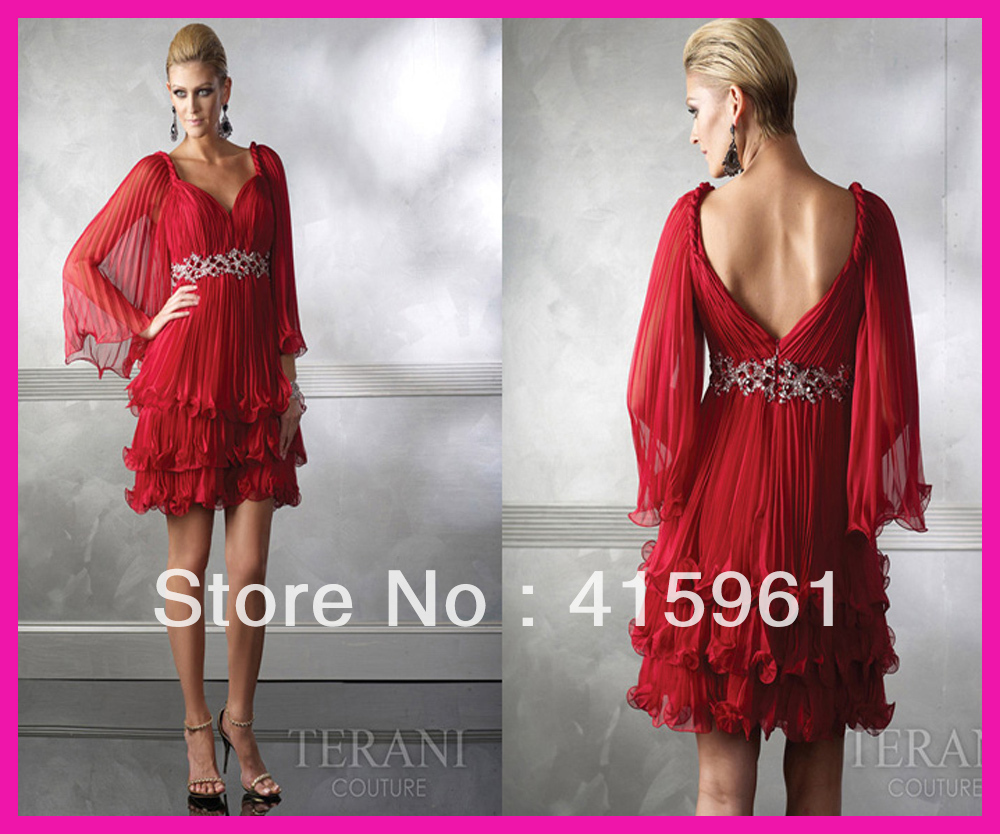 Sexy Red Long Sleeves Crystals Short Chiffon Mother Party Dress Wear Free Shipping M152