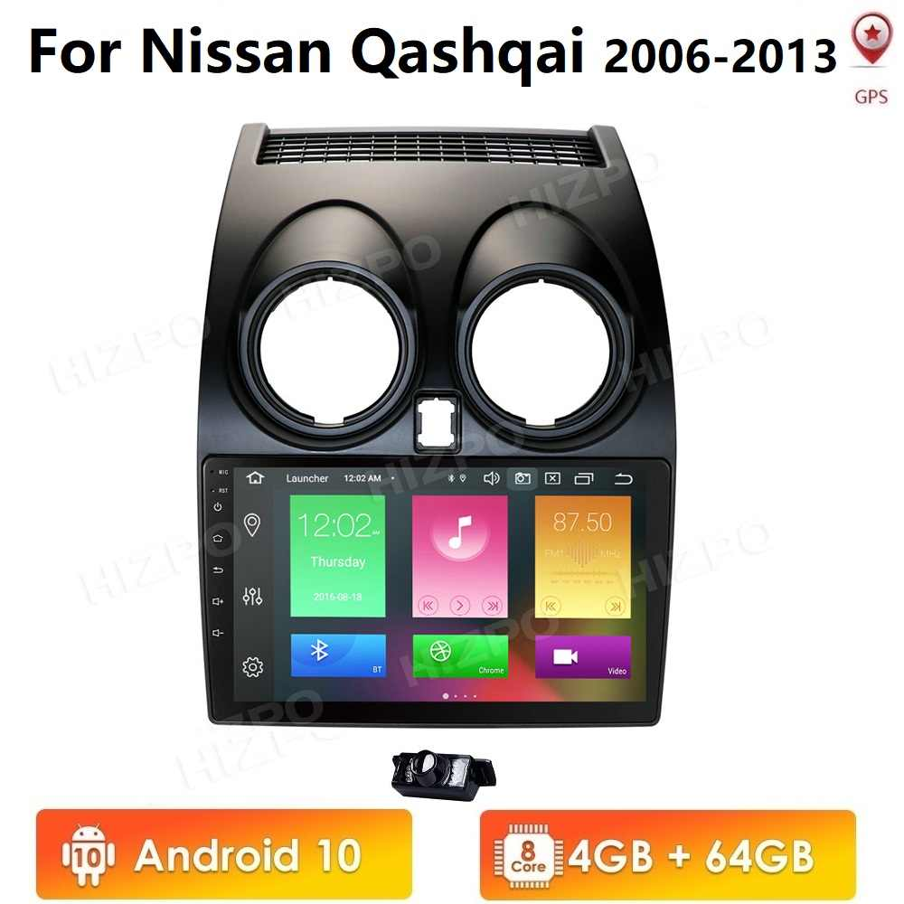 Android 10 4GB + 64GB CarPlay araba radyo Multimidia Video oynatıcı GPS Nissan Qashqai için 1 J10 2006-2013 2 din no-dvd 4G WIFI Nav Pc