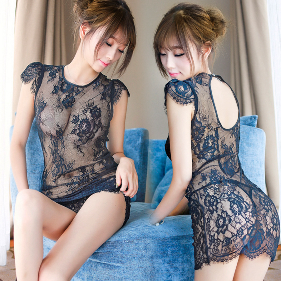 Lace Night Dress Sexy Ladies Sexy See Though Women Sleepwear Femme Round Neck Summer Black Lingerie Nighty Embroidery