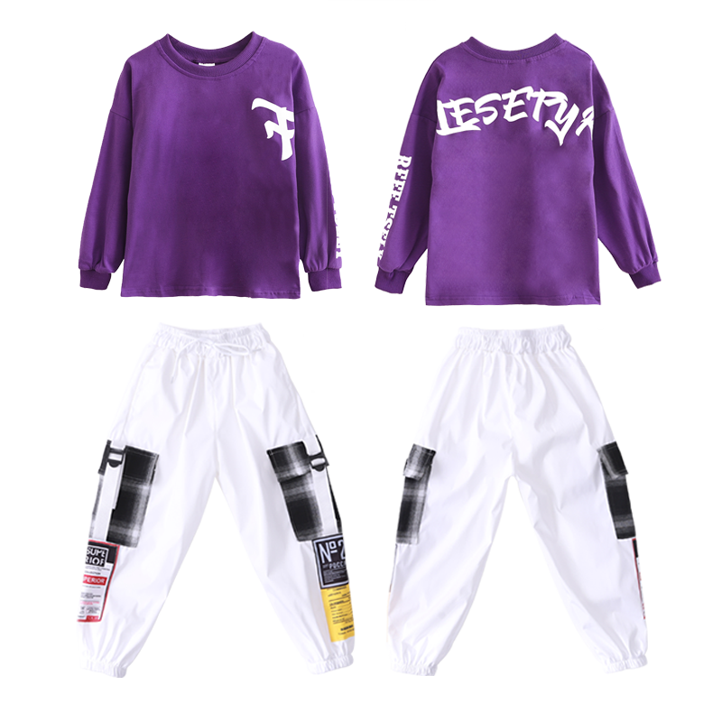 Boys Hip Hop Costumes Purple Shirts Fashion Ballroom Dance Costume Girls Jazz Clothes Set Loose Pants Dancewear for Children (1)