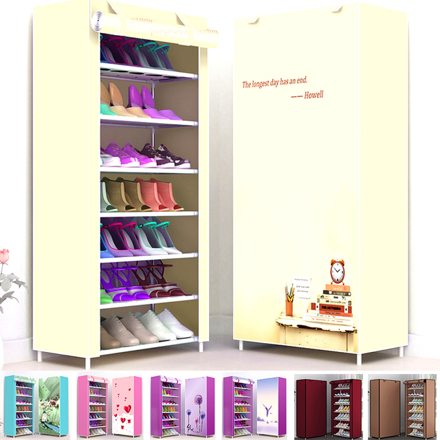 Multi Layers Shoe Rack Nonwoven Fabric Home Shoes Storage Organizer Easy to Install Shoe Cabinet Stand Holders Space Saver 4