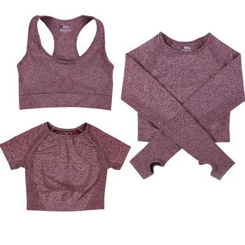 Bezszwowy zestaw do ćwiczeń dla kobiet crop top krótka koszulka z długim rękawem fitness siłownia odzież sportowa aktywność fizyczna tanie i dobre opinie HAIMAITONG WOMEN CN (pochodzenie) NYLON bez rękawów Dobrze pasuje do rozmiaru wybierz swój normalny rozmiar Sukno oddychająca