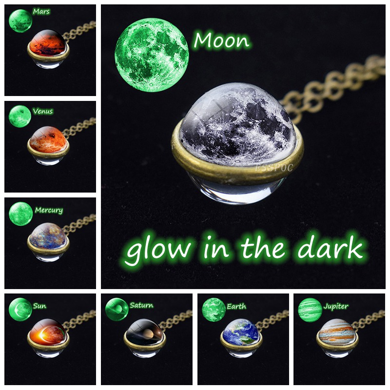 Glow In The Dark Solar System Necklace Moon Earth Mars Necklace Double Side Glass Ball Pendant Luminous Necklace Jewelry in Pendants from Jewelry Accessories