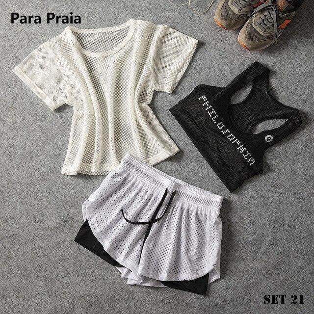 Para Praia Sportswear Three Piece Yoga Set Sport Shirt Women Sport bra Fitness Pants Leggings Tracksuit Gym Leggings 23 Colours