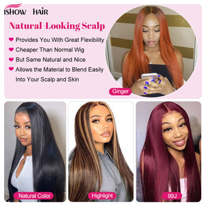 Image 5 - Ishow Ombre Highlight Wig Brown Honey Blonde Colored  Indian Whole Lace Front Human Hair Wigs Straight 13X4X1 Lace Frontal Wig