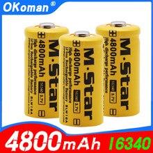 Alta capacidade 4800mah recarregável 3.7v li-ion 16340 baterias cr123a bateria para lanterna led para 16340 cr123a bateria