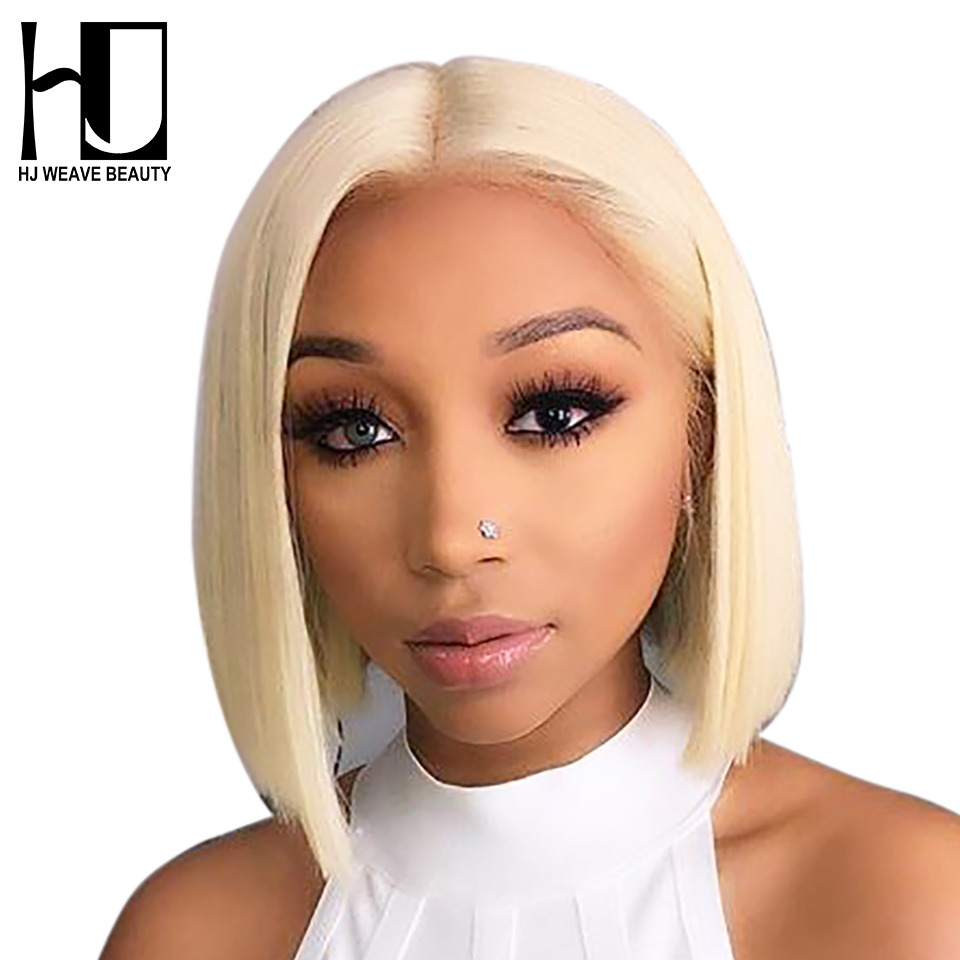13x6 Blonde Lace Front Wig Brazilian 1B 613 Short Bob Lace Front Human Hair Wigs For Black Women Transparent Lace Front Wig image