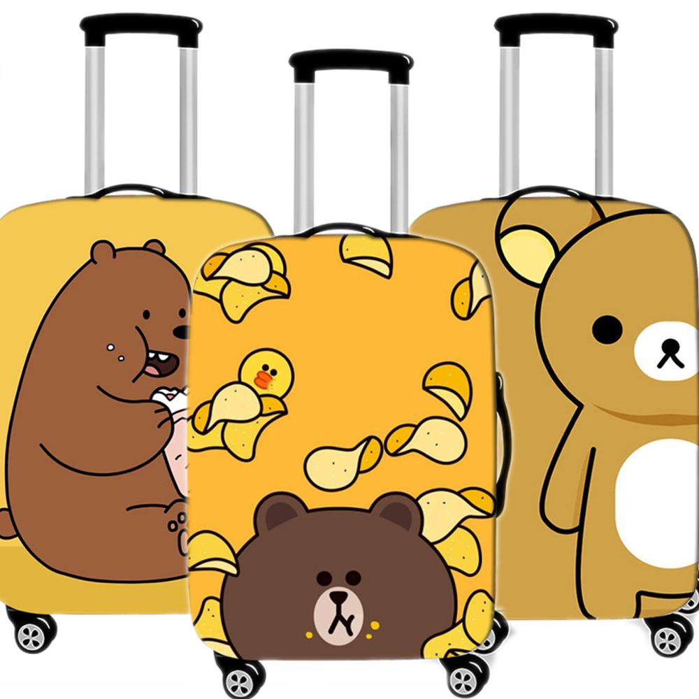 Cute Brown Bear Luggage Case Protective Cover Waterproof Thicken Elastic Suitcase Case Apply 18 - 32 Inche XL Travel Accessorie