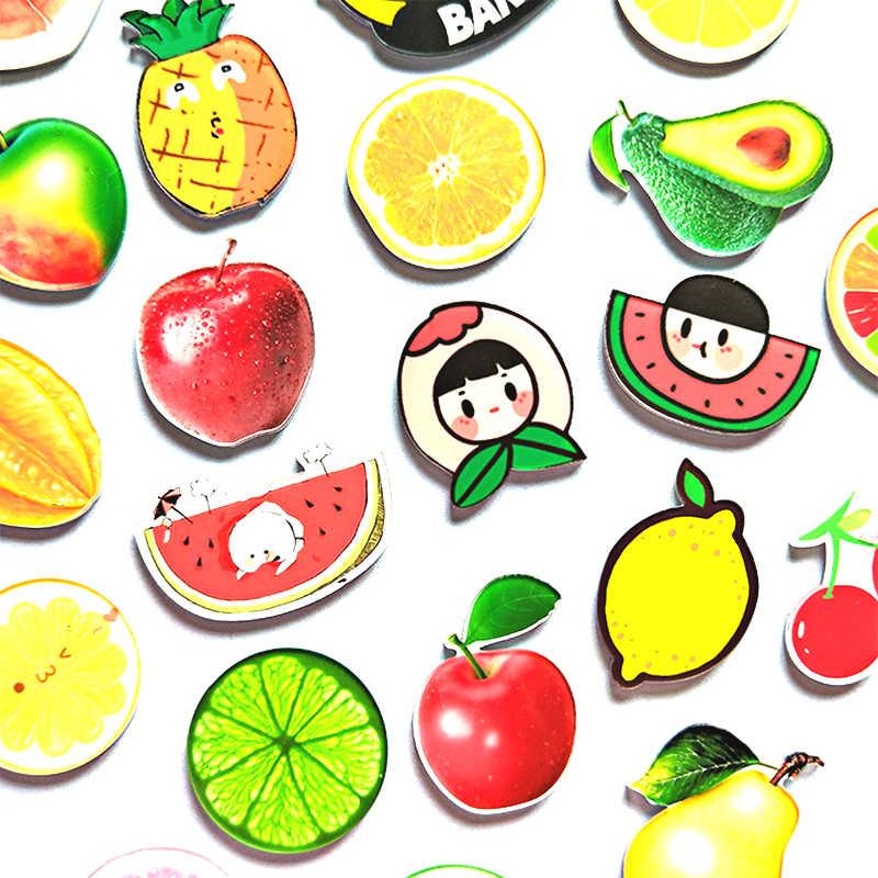 Dibujos animados de Navidad fruta acrílica cocina decorativa nevera adhesivos magnéticos para nevera limón manzana sandía piña cereza