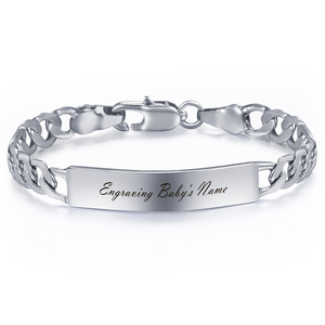 Fashion Jewelry For Baby Bracelets Smooth Gold Silver Color Gold Filled Bracelet Figaro Link Name ID Bangle Child Gifts LGB426