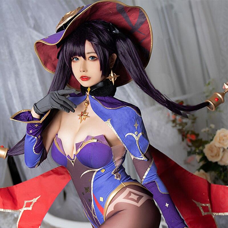 Spiel Genshin Auswirkungen Mona Cosplay Kostüm Frauen Sexy Overall Rätselhaft Astrologen Body Halloween Hexe Anzug Nach Maß