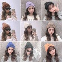 Unisex inverno malha gorro chapéu casual beanies toque chapéu queda moda sólida versão coreana da selvagem tendência japonesa