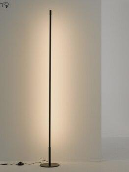Nordic Minimalist Simple Long Floor Lamp Modern Atmosphere LED Stand Lights Remote Control Living Room Bedroom Bedside Luminaire
