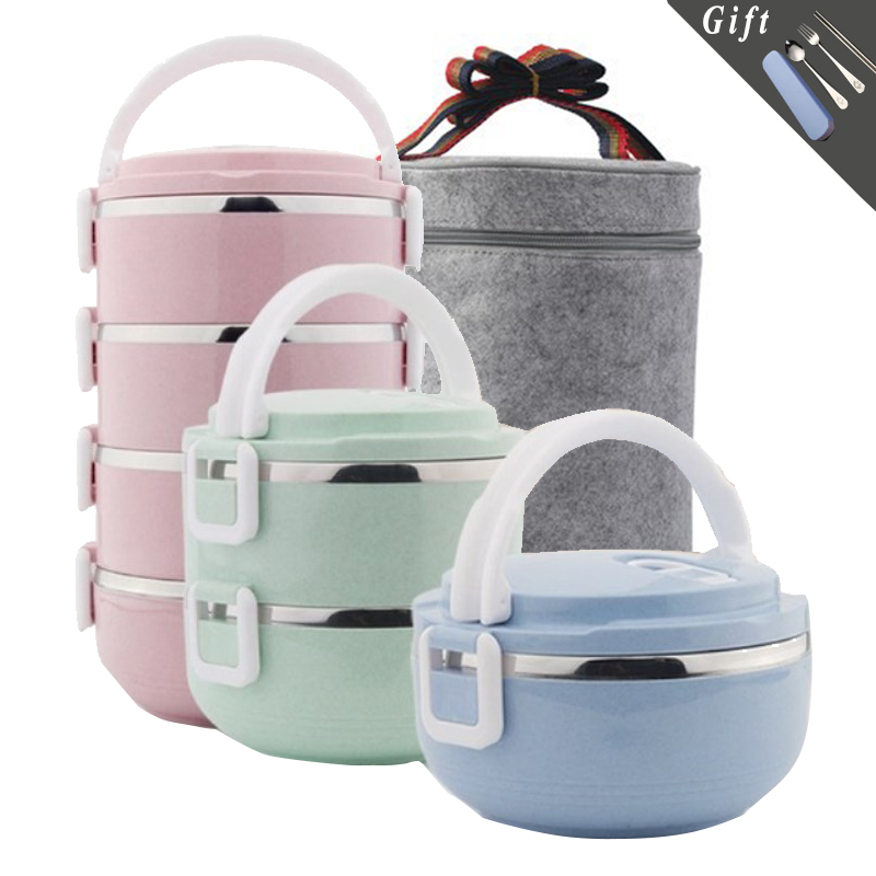 Large Capacity Stainless Steel Lunch Box Kids Thermal Insulation Bento Box Kitchen Food Container Multi-layer Stackable Lunchbox