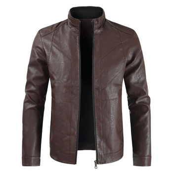 Spring Male Casual Stand Collar Motorcycle PU Leather Jacket Coat Outerwear Male Clothes Jaqueta De Couro Men Leather Jacket