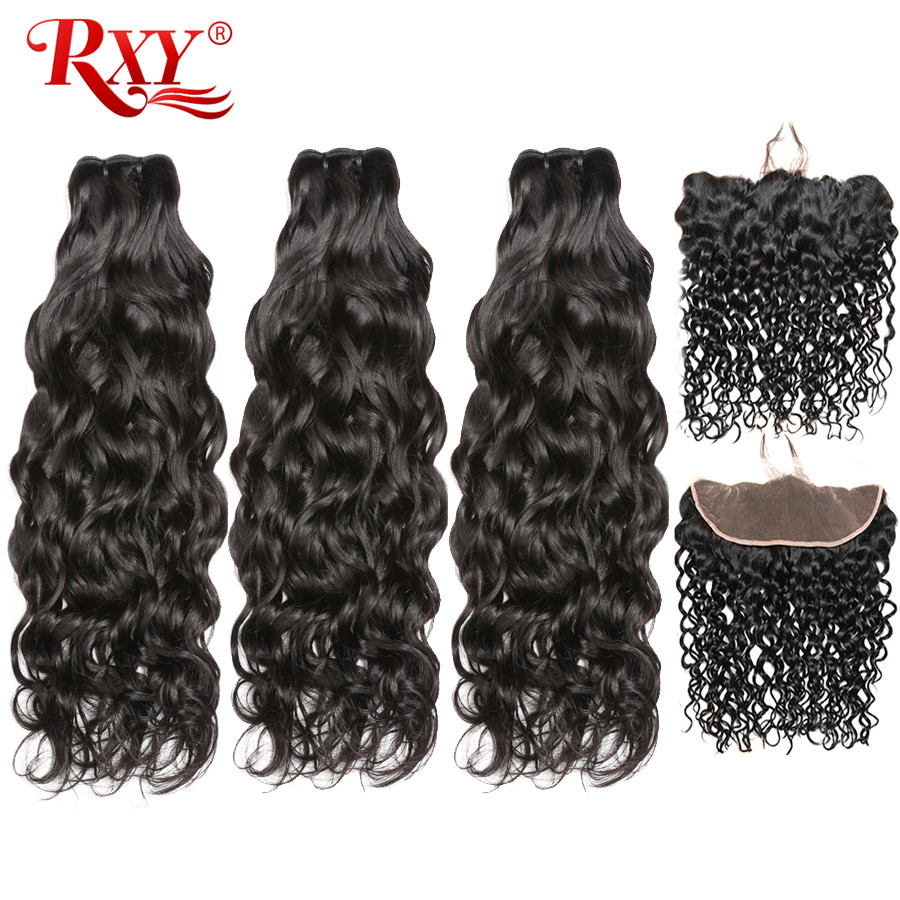 RXY Water Wave Bundles with Frontal Brazilian Hair Weave Bundles Human Hair Ear to Ear Lace Frontal Closure with Bundles Remy-in 3/4 Bundles with Closure from Hair Extensions & Wigs    1