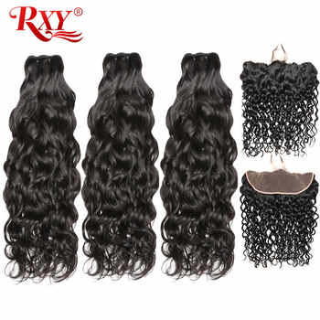 RXY Water Wave Bundles with Frontal Brazilian Hair Weave Bundles Human Hair Ear to Ear Lace Frontal Closure with Bundles Remy - DISCOUNT ITEM  48% OFF All Category