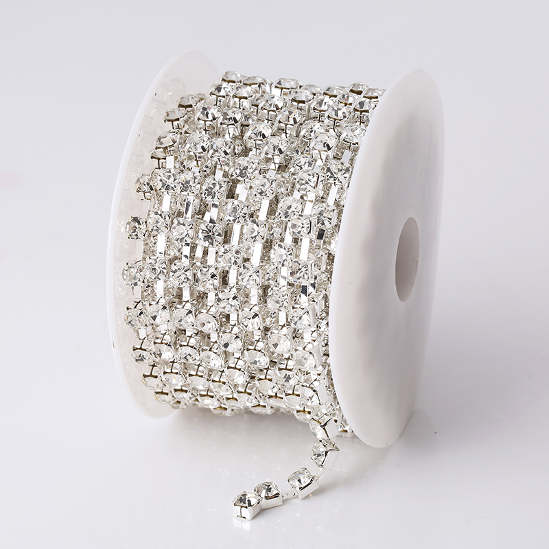 Image 2 - RESEN SS28 6mm 10yards/lot Crystal AB Rhinestone Chain Trim 28ss Glass Strass Trimming Yard Rhinestone Cup Chain Sliver MetalRhinestones   -