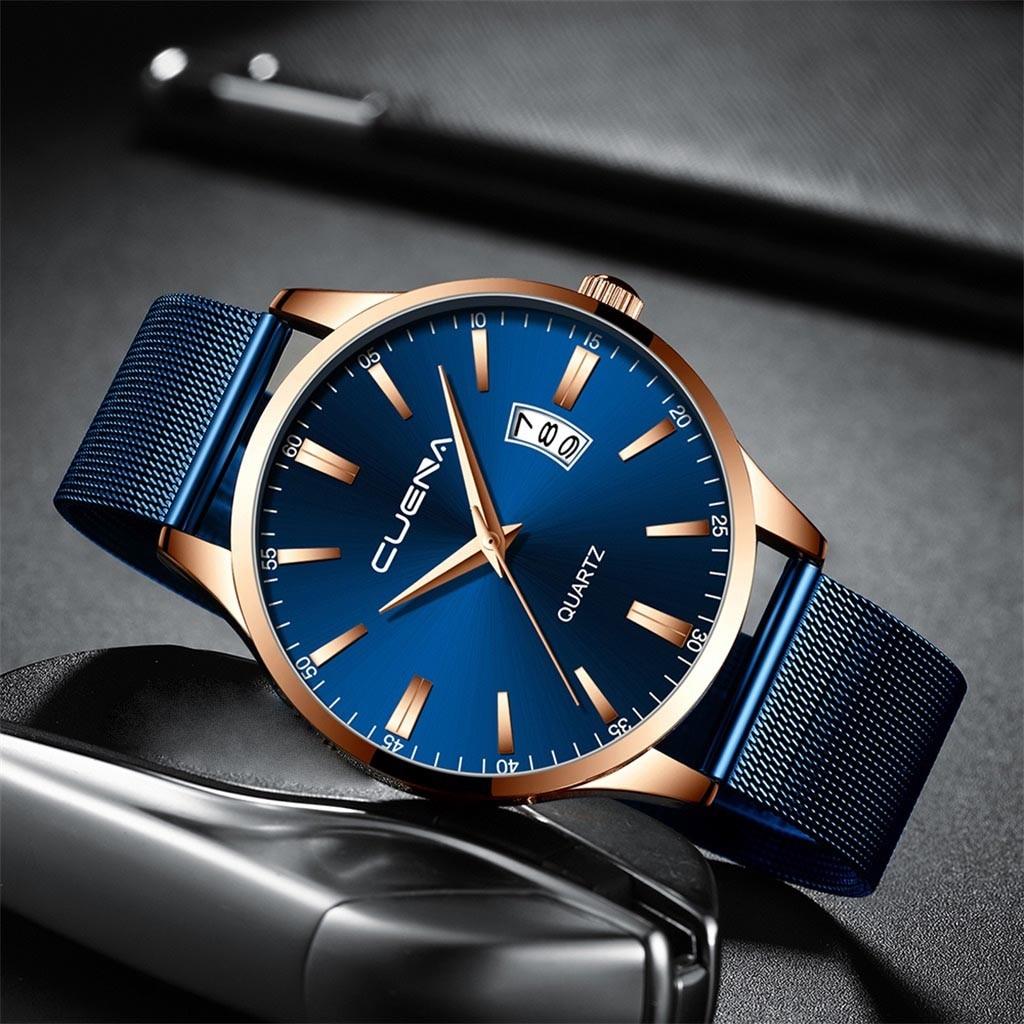 Fashion Men's Watch Geometric Round Alloy Business Quartz Wrist Watch