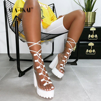 LALA IKAI Women Ankle Sandals PVC Waterproof High Heels Shoes Female Lace Up Rain Boots Platform Square Heels Boots XWC5549 4
