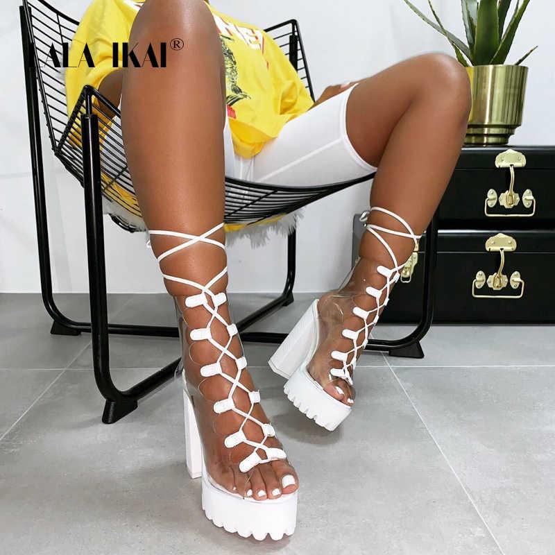 LALA IKAI femmes cheville sandales PVC imperméable talons hauts chaussures femme à lacets bottes de pluie plate-forme talons carrés bottes XWC5549-4