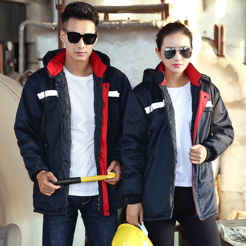 Winter Worker Clothes Workmen Factory Uniforms Long-sleeved Free Ship Cotton-padded Safety Reflective Strip Jacket Coat Overcoat