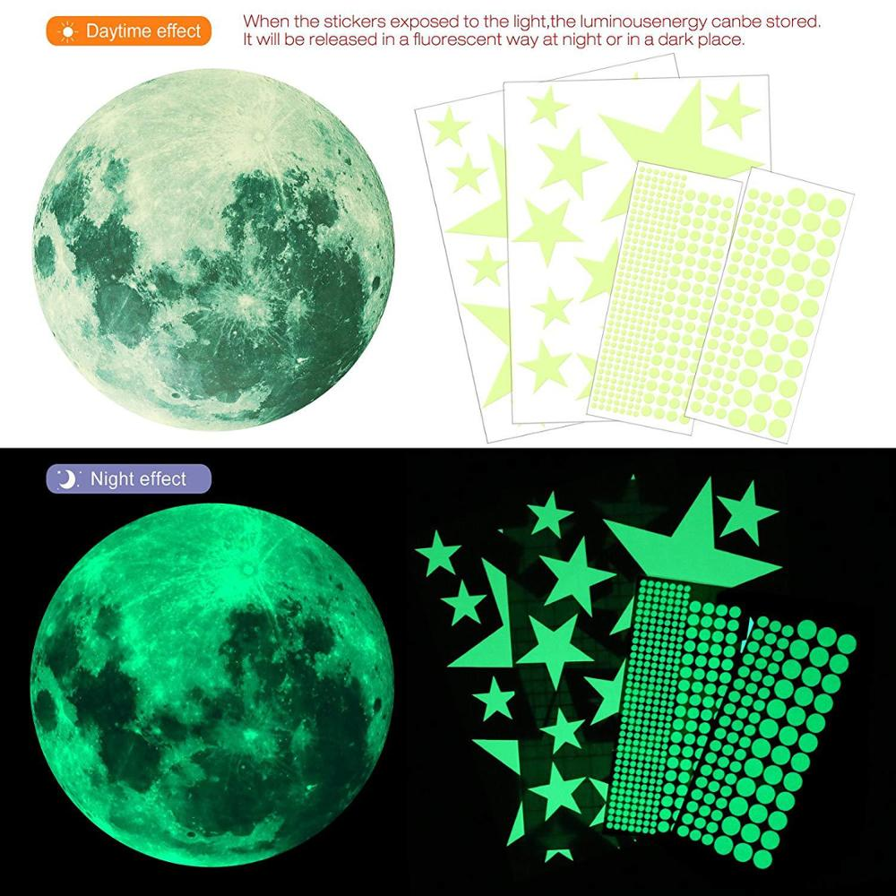 Moon And Star Luminous Sticker Round Dot Paster Fluorescent Stars Glow In The Dark Ceiling DecorGlow In The Dark Toy