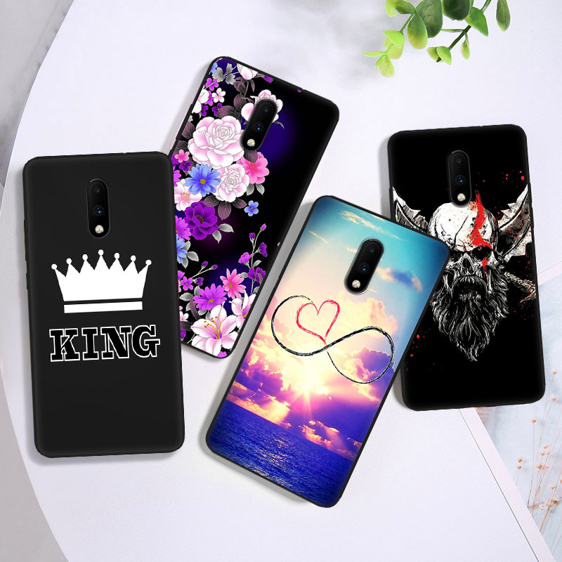 Soft TPU Cover for 1+3 5 <font><b>5t</b></font> DIY Painted Coque one plus6 6t for <font><b>OnePlus</b></font> 7/7Pro <font><b>Slim</b></font> Full Protection Gel Matte Black Phone <font><b>Cases</b></font> image