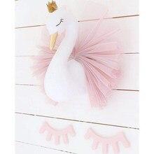Swan Wand Dekoration Flamingo Ballett tüll Puppe Goldene Krone Schwan Gefüllt Spielzeug Tier Kopf Wand Decor Baby Zimmer Geburtstag Geschenk