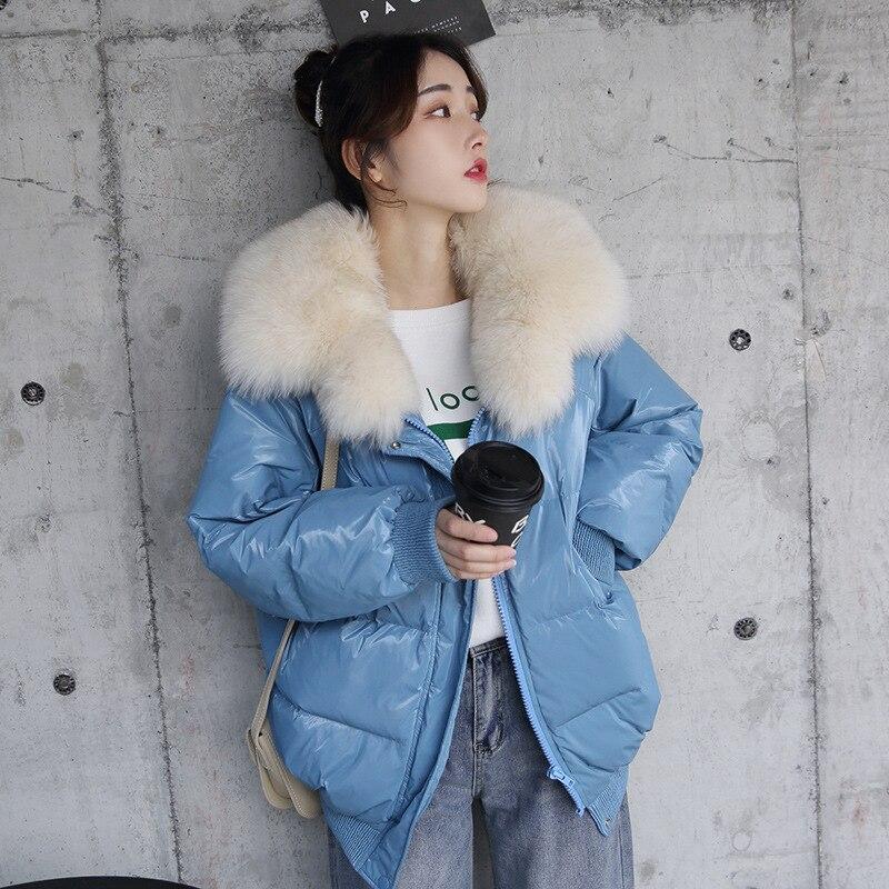 2019 Winter 90% White Duck   Down   Jacket Warm Large Real Fox Fur Collar Loose Warm Female   Down   Parka Women   Down     Coat   Outwear