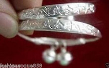 +++ 368 Collectable Antique Style Chinese pair 925 silver word baby/kid bracelet bangle Wholesale 8pcs 4 pair silver(China)