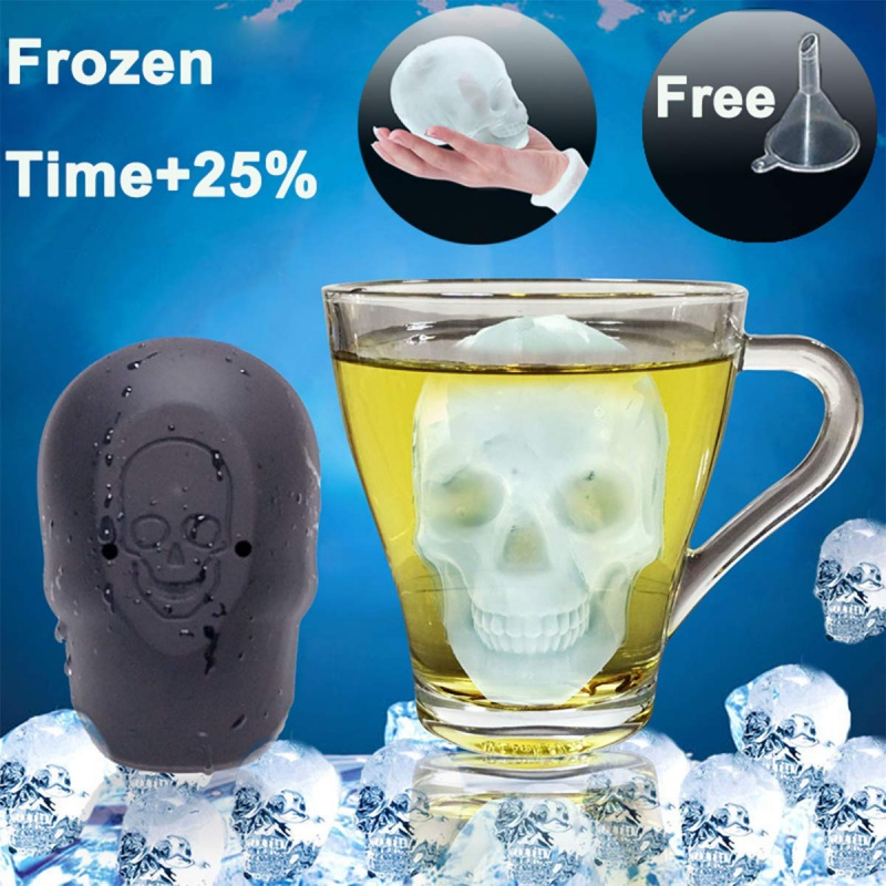 3D Skull Head Ice Cube Mold Halloween Skull Shaped Whisky Wine Ice Cube Tray Maker Chocolate Mould Bar Kitchen Tools