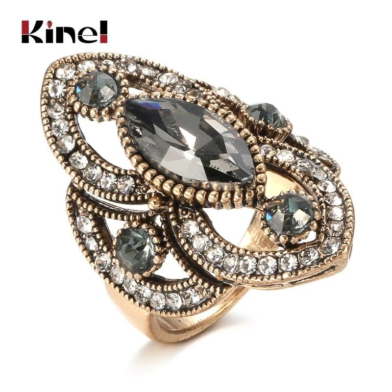 Уникальное кольцо Kinel с серым кристаллом для женщин, аксессуары для вечерние, античное золото, винтажные свадебные украшения, роскошные под...