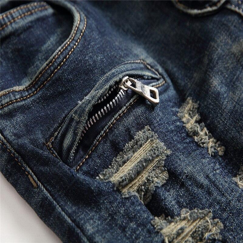 Denim Del Progettista Dei Jeans del Foro di Alta Qualità Strappato per il Formato Degli Uomini 28 38 40 2019 Autunno Inverno Più Velluto HIP HOP Punk Streetwear - 3