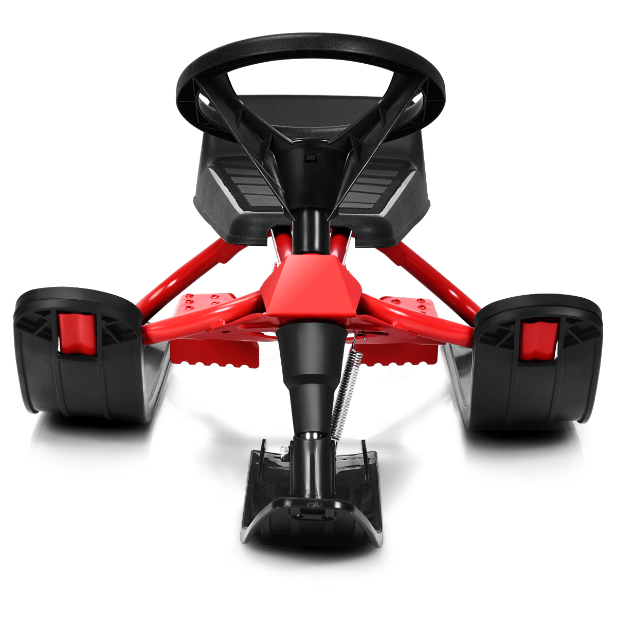 Kids Snow Racer Sled w- Steering Wheel & Double Brakes Pull Rope Iron Outdoor