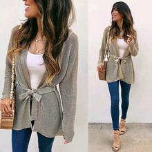 Women's Grey Sweater Cardigan Autumn Casual V-neck Long Sleeves Sweaters With Belt For Lady white v neck cold shoulder long sleeves sweaters