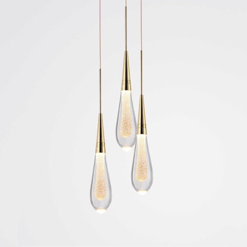 Water-drop Glass Pendant Lights Bedroom Bedside Lamp Modern LED Designer Crystal Pendant Lamp Dining Room Kitchen Hanging Lamps