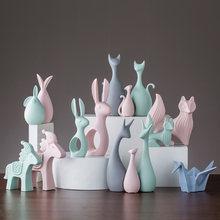 Скандинавские розовые зеленые керамические фигурки оленя кролика