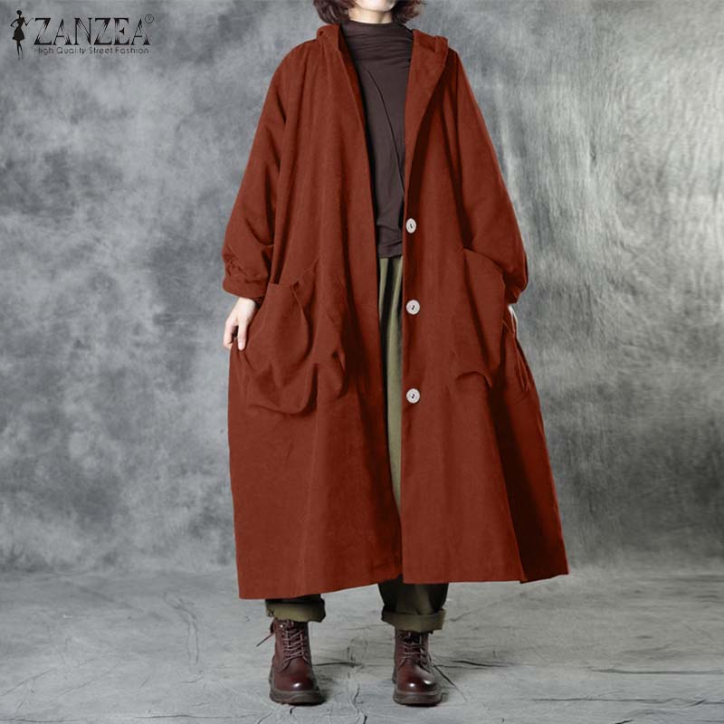 ZANZEA Women Corduroy Coats Vintage Autumn Hoodies Overcoats Casual Long Sleeve Buttons Long Jackets Solid Loose Outwear Baggy
