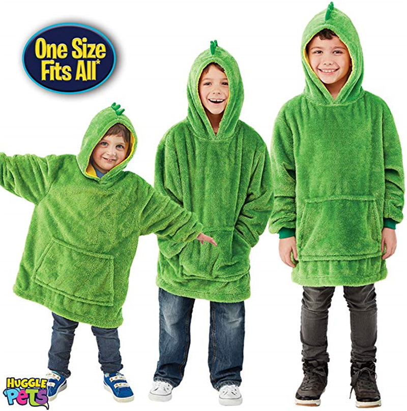 Huggle Pets Hoodie Dinosaur Hooded Sweatshirt Warm Winter Hooded Coats Bathrobe Fleece Pullover For Children