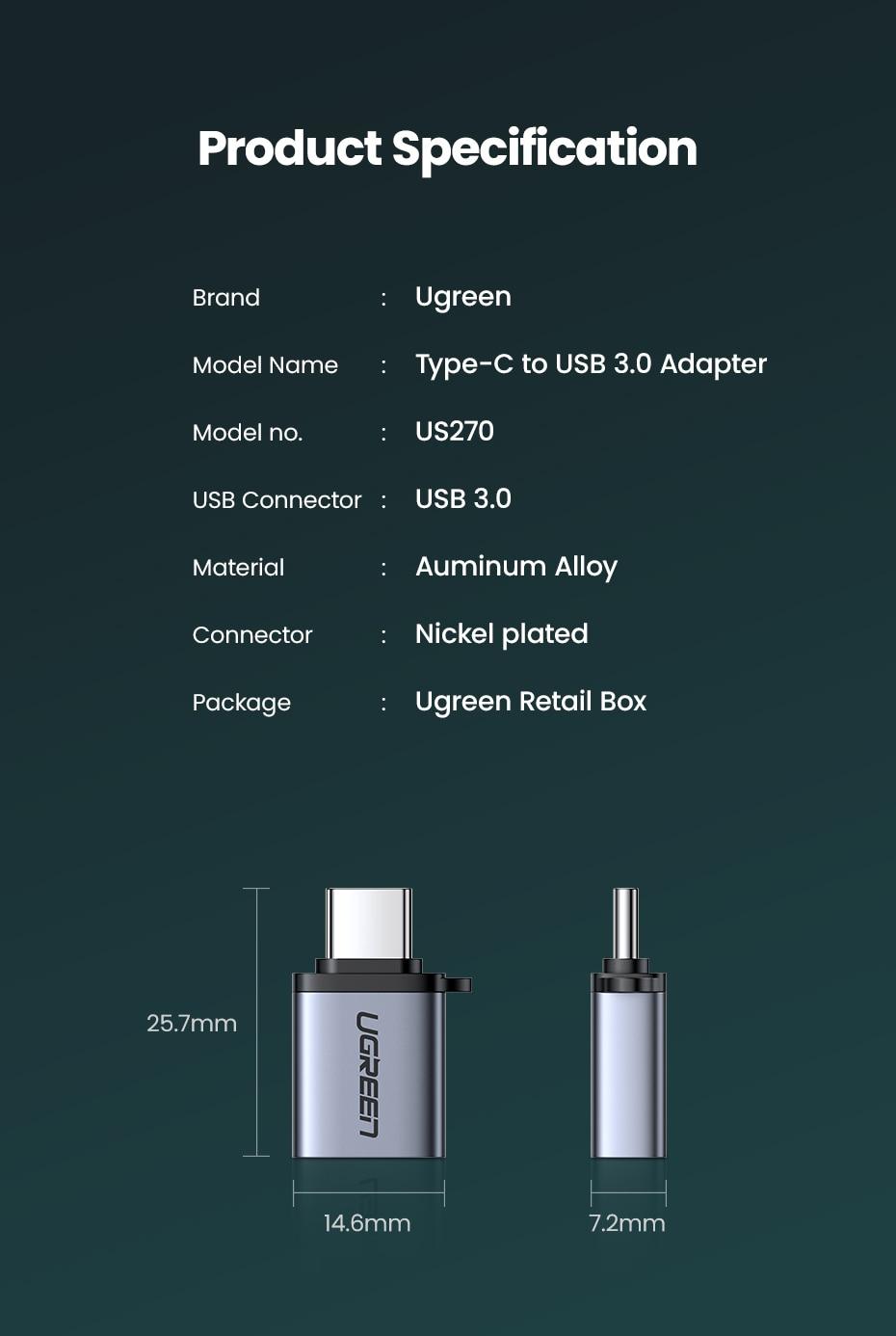 Προσαρμογέας ugreen usb c otg fast usb 3. 0 to type c adapter για macbook pro xiaomi mi 10 mini usb adapter type-c otg cable converter msow