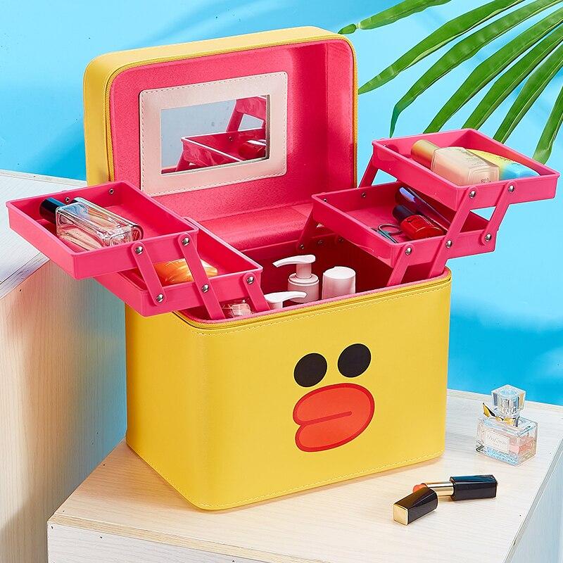 Fashion Cute Cosmetic Bag Cartoon Duck Makeup Bag Large Capacity Make Up Box Portable Beauty Bag Case Korean Style Makeup Pouch
