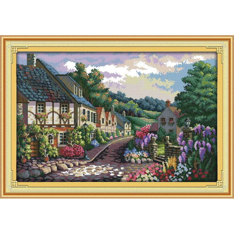 Mediterranean landscape painting, counting cross stitch kit, DIY embroidery needlework, 14ct11ct handmade crafts home decoration-0